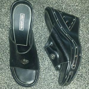 543917d1ce532 Harley Davidson black wedges size 7.5